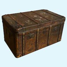 Antique Victorian miniature metal trunk tin