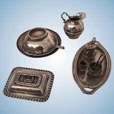 Antique English miniature silver items ideal for dolls
