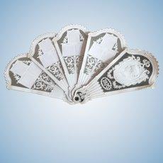 Elegant fan shaped paper calendar from 1876
