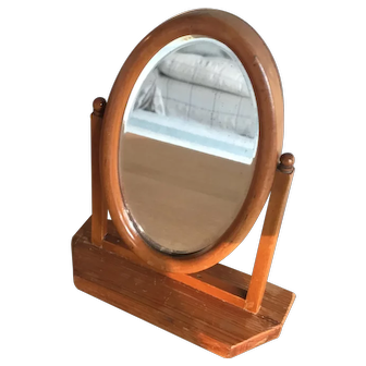 Antique pine dolls swivel mirror