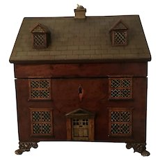 Extremely rare English, Georgian tea caddy in the form of a cottage circa early 1800's