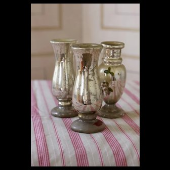 Antique Small Mercury Glass Vase SET OF 3 Late 19th Century
