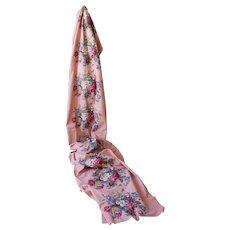Vintage 1920s Antique Pink Bouquet Repeat Heavy Cotton Fabric