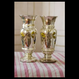 Pair of Hand Painted Antique Mercury Glass Vases Late 19th Century