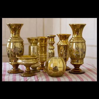 Antique Gold Mercury Glass Set Late 19th Century