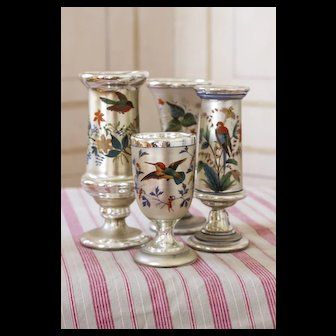 Antique Mercury Glass Hand Painted Set  of 4 Late 19th Century STUNNING