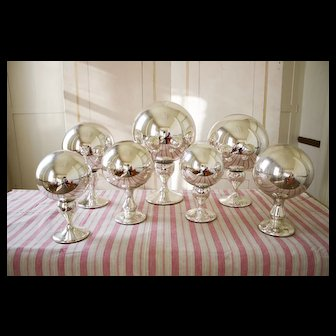 Antique Mercury Glass Ball on Pedestal Collection SET OF 7 Late 19th Century