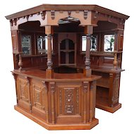 English Mahogany Canted Corner Home Bar