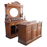 19th Century English Victorian Carved Oak Front and Back Bar