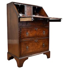 19th Century English Victorian Burr Walnut Writing Bureau