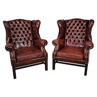 20th Century Pair of English Red Leather Wing Back Armchairs