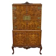20th Century Queen Anne Style Burr Walnut Cocktail Cabinet