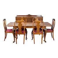 20th Century English Queen Anne Style Burr Walnut Dining Suite