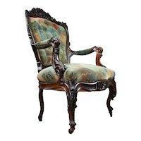 19th Century English Victorian Show Frame Armchair