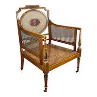 19th Century English Victorian Satin Birch Cane Armchair by Howard & Sons, Berner Street
