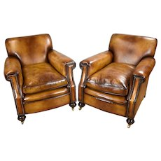 Pair of 1920's Biscuit Brown Leather Club Chairs