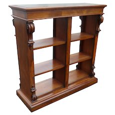 19th Century Victorian Mahogany Double Sided Open Bookcase
