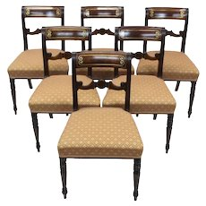 Set of 7 19th Century Regency Mahogany and Brass Inlaid Dining Chairs