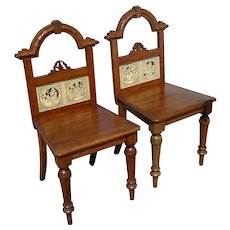 Pair of 19th Century English Victorian Oak Hall Chairs