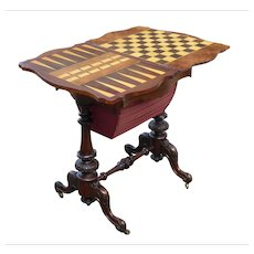 19th Century English Victorian Burr Walnut Games Table