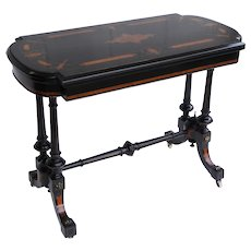19th Century English Victorian Ebonized Card Table