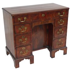 18th Century English George III Flame Mahogany Kneehole Desk