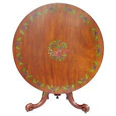 19th Century Victorian Satin Birch Hand Painted Circular Table