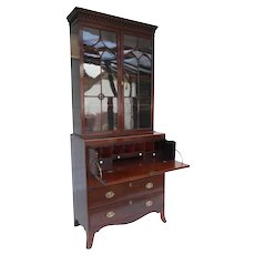 19th Century English Regency Mahogany Secretary Bookcase