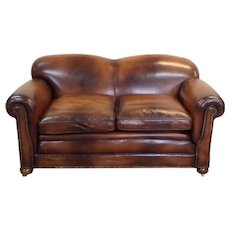 Antique Victorian Drop End Leather Sofa
