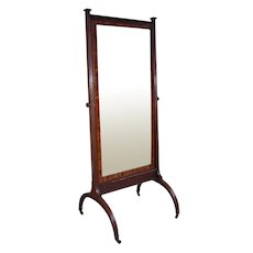 19th Century English Mahogany Cheval Mirror