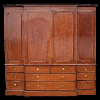 19th Century George III Mahogany Breakfront Wardrobe