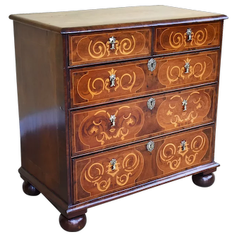 18th Century Burr Walnut and Marquetry Chest of Drawers