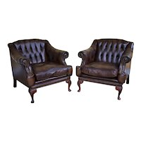 Pair of 20th Century English Leather Armchairs