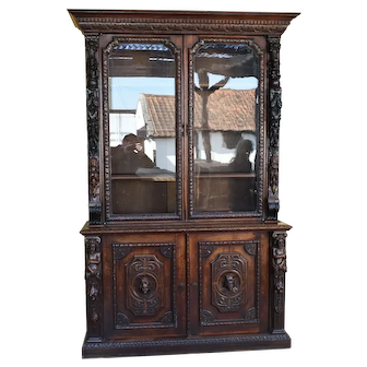 19th Century Victorian Carved Oak Bookcase