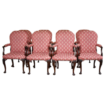 Set of 8 18th Century Style Mahogany Elbow Chairs