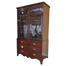 19th Century English George III Mahogany Glass Fronted Linen Press