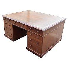 19th Century English Victorian Mahogany Partners Desk
