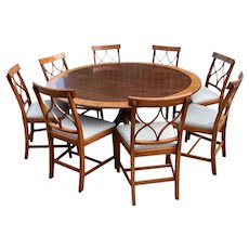 20th Century George III Style Circular Dining Table and 8 Dining Chairs