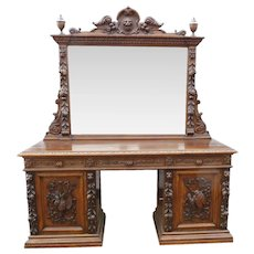 19th Century English Victorian Carved Oak Sideboard