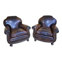 Quality Pair of Antique 20th Century Leather Club Armchairs