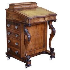 19th Century Victorian Burr Walnut Davenport