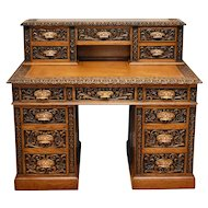 19th Century Victorian Carved Oak Pedestal Desk