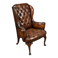 20th Century Hand Dyed Tan Wingback Arm Chair