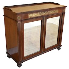 19th Century English Regency Rosewood and Brass Inlaid Chiffonier
