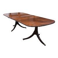 19th Century English Regency Style Mahogany Pedestal Dining Table