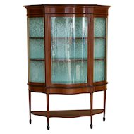20th Century English Edwardian Mahogany and Inlaid China Cabinet