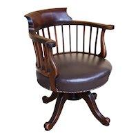 19th Century English Victorian Mahogany Swivel Desk Chair
