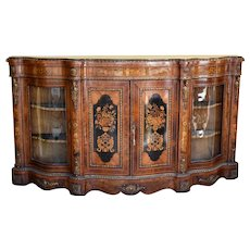 19th Century English Victorian Walnut and Marquetry Serpentine Credenza