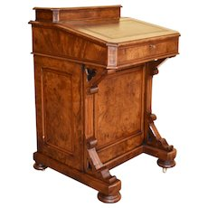 19th Century English Victorian Burr Walnut Davenport