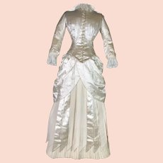French Ivory Wedding Bustle Gown
